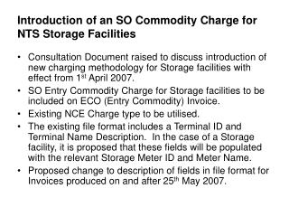 Introduction of an SO Commodity Charge for NTS Storage Facilities