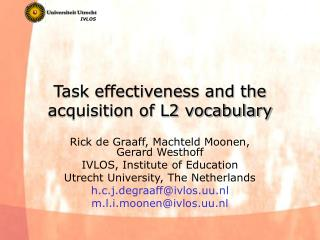 Task effectiveness and the acquisition of L2 vocabulary
