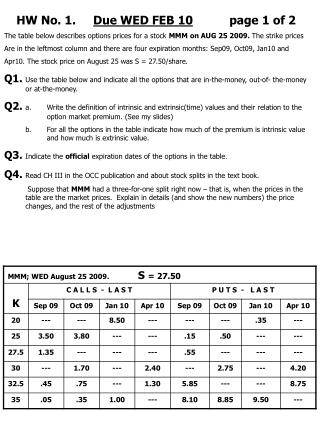 HW No. 1.      Due WED FEB 10 page 1 of 2