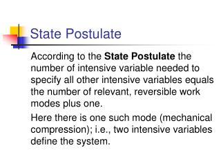 State Postulate