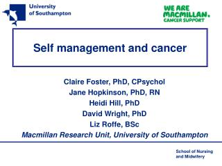 Self management and cancer