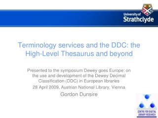 Terminology services and the DDC: the High-Level Thesaurus and beyond