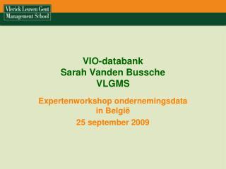 VIO-databank  Sarah Vanden Bussche VLGMS