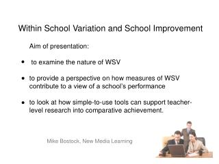Within School Variation and School Improvement