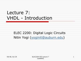 Lecture 7:  VHDL - Introduction