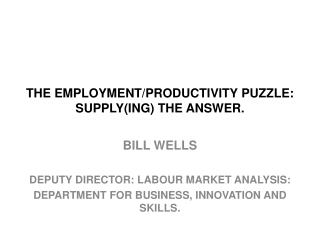 THE EMPLOYMENT/PRODUCTIVITY PUZZLE: SUPPLY(ING) THE ANSWER.