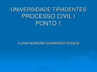 UNIVERSIDADE TIRADENTES PROCESSO CIVIL I PONTO 1