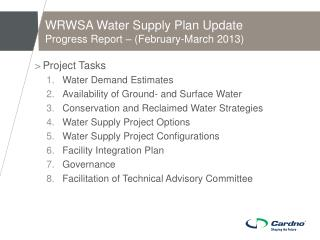 WRWSA Water Supply Plan Update Progress Report – (February-March 2013)