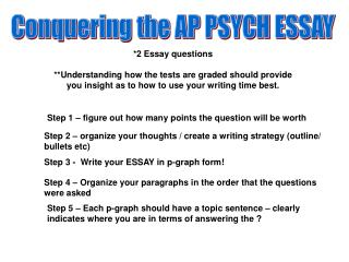 Conquering the AP PSYCH ESSAY