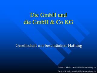 Die GmbH und  die GmbH & Co KG