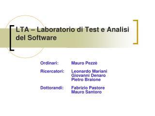 LTA – Laboratorio di Test e Analisi del Software