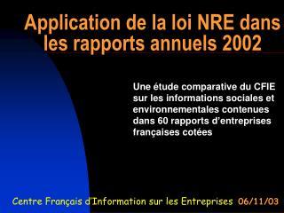 Application de la loi NRE dans les rapports annuels 2002