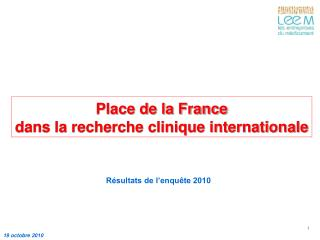 Place de la France  dans la recherche clinique internationale