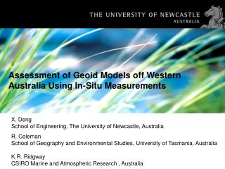 Assessment of Geoid Models off Western Australia Using In-Situ Measurements