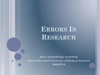 Errors In Research