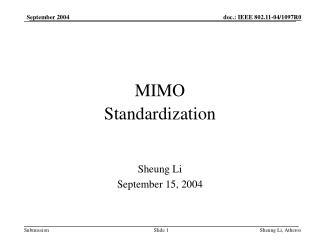 MIMO Standardization
