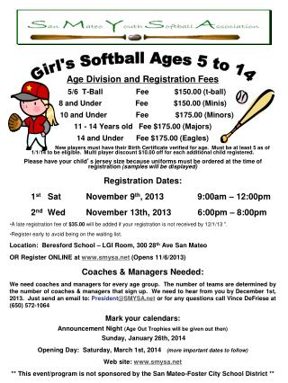 Age Division and Registration Fees     5/6  T-Ball	Fee	$150.00 (t-ball)