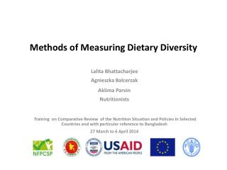 Methods of Measuring Dietary Diversity