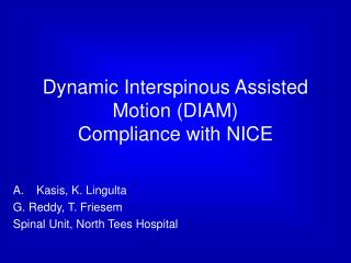 Dynamic Interspinous Assisted Motion DIAM Compliance with NICE