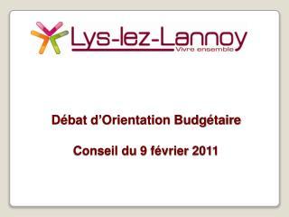 Débat d'Orientation Budgétaire  Conseil du 9 février 2011