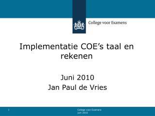 Implementatie COE's taal en rekenen