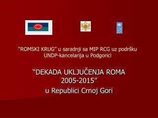 """""""ROMSKI KRUG"""" u saradnji sa MIP RCG uz podršku UNDP-kancelarija u Podgorici"""