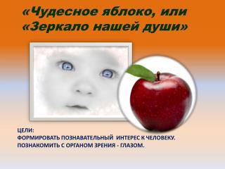 Цели: Формировать познавательный  интерес к человеку. Познакомить с органом зрения - глазом.