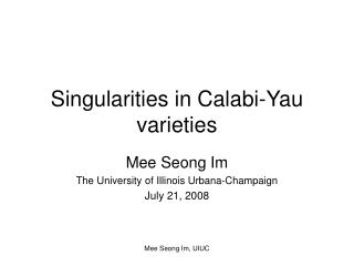 Singularities in Calabi-Yau varieties