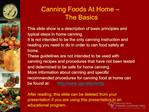 Canning Foods At Home