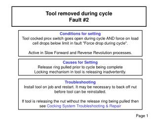 Tool removed during cycle Fault #2