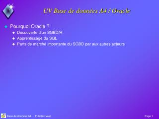 UV Base de donn�es A4 / Oracle