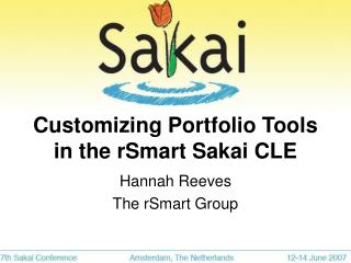 Customizing Portfolio Tools in the rSmart Sakai CLE