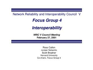 Focus Group 4 Interoperability