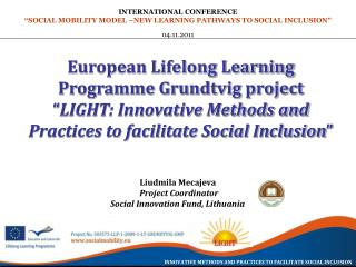 European Lifelong Learning Programme Grundtvig project