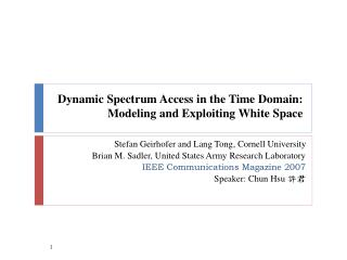 Dynamic Spectrum Access in the Time Domain: Modeling and Exploiting White Space