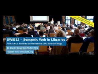 SWIB Semantic Web in Libraries swib