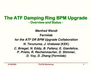 The ATF Damping Ring BPM Upgrade - Overview and Status -