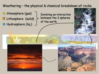 Weathering – the physical & chemical breakdown of rocks.   Atmosphere (gas)