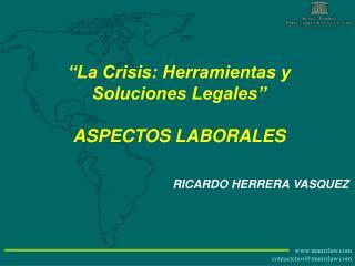 """""""La Crisis: Herramientas y Soluciones Legales"""" ASPECTOS LABORALES"""