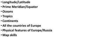 Longitude/Latitude Prime Meridian/Equator Oceans Tropics Continents All the countries of Europe