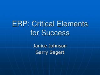 ERP: Critical Elements for Success