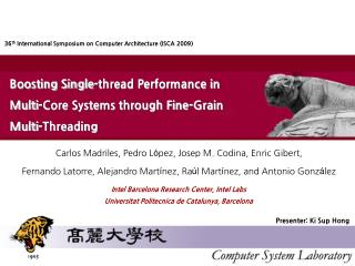 Boosting Single-thread Performance in  Multi-Core Systems through Fine-Grain Multi-Threading