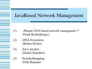 JavaBased Network Management