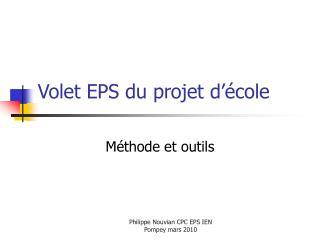Volet EPS du projet d'école