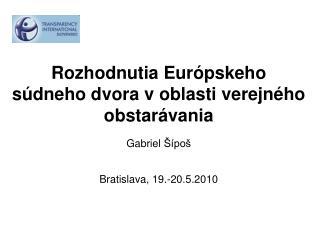 Rozhodnutia Európskeho súdneho dvora voblasti verejného obstarávania