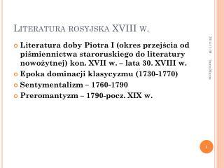 Literatura rosyjska XVIII w.