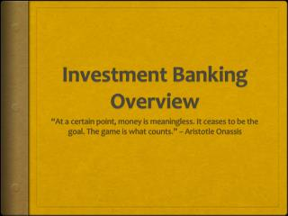 Investment Banking Overview
