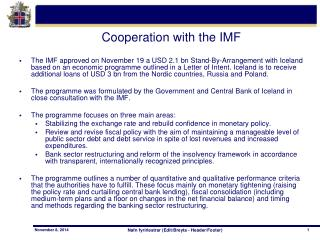 Cooperation with the IMF