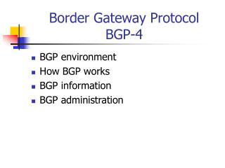 Border Gateway Protocol BGP-4