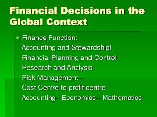 Financial Decisions in the Global Context
